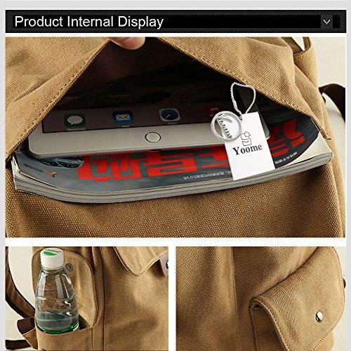 Yoome Casual Vintage Canvas Rucksack Rucksack 14 Zoll Laptop mit USB Ladehafen Dayback Travel College Wandern Camping Bergsteigen Weekend Bag - USB Schwarz USB Schwarz PCZqM1