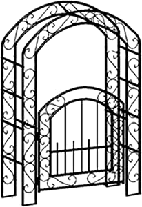 XH&XH Garden Arch with Gate Plant Stand Garden Trellis Arch for Climbing Plants Roses Vines Support Rack Outdoor Garden Lawn Yard Patio