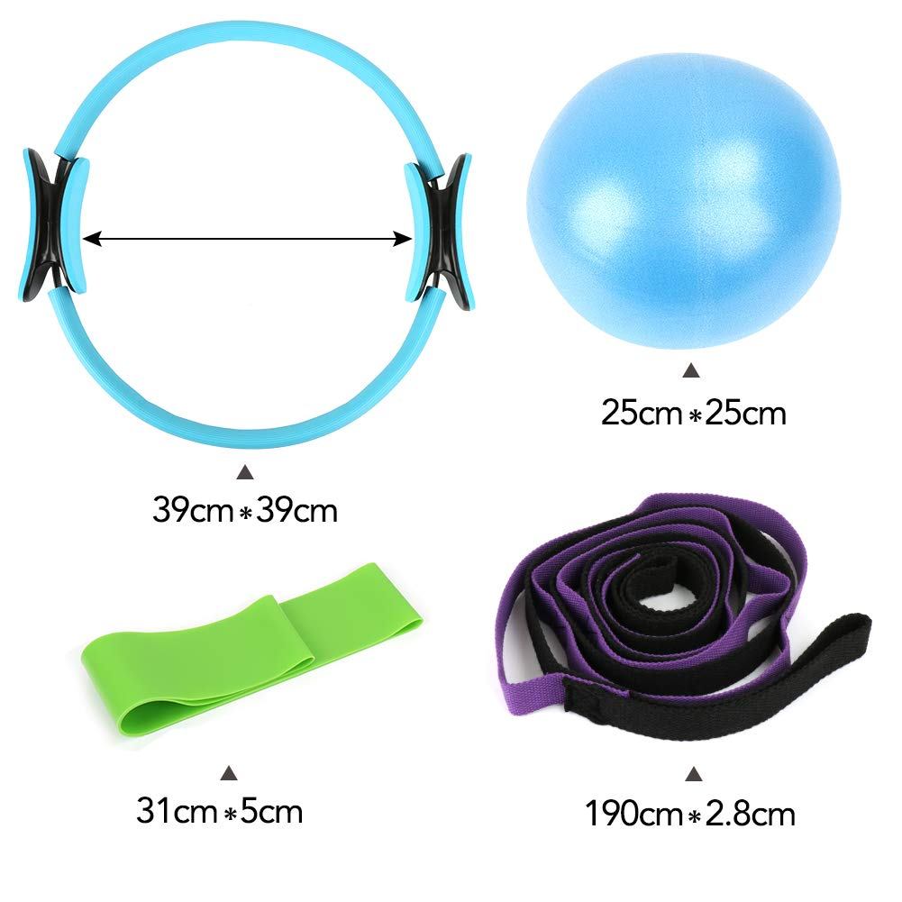 CleanDell Yoga Strap Exercise Bands Resistance Exercise Ball kits Yoga Socks,Pilates Ball,Pilates Bands Resistance Yoga Strap and Belts for Stretching Massage Ball Stretch Strap,Non Slip Skid Socks