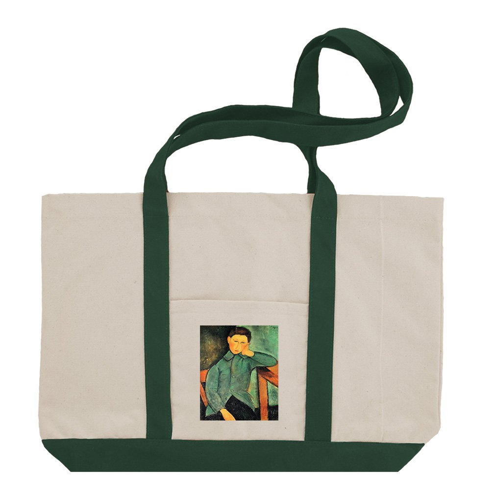 Boy In A Blue Jacket (Modigliani) Cotton Canvas Boat Tote Bag Tote - Green by Style in Print
