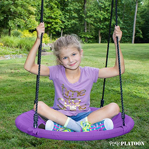 Flying Saucer Tree Swing - Purple, 400 lb Weight Capacity, Fully Assembled, Easy to Install