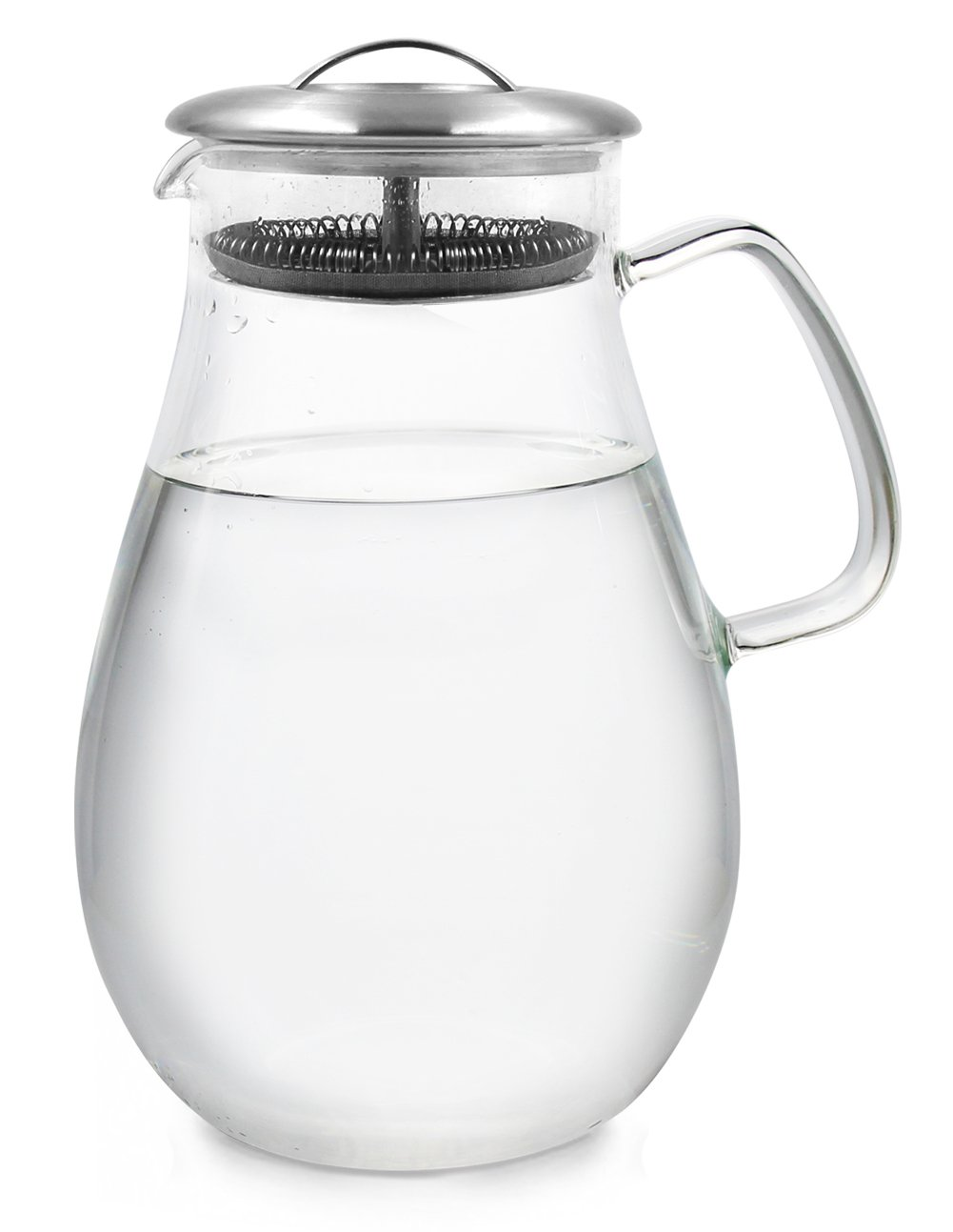 TQVAI 64 Oz Glass Water Iced Tea Pitcher with Stainless Steel Lid