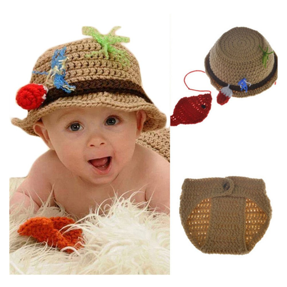 Fashion Newborn Baby Photography Props Boy Girls Photo Shoot Props Outfits Crochet Knitted Costume Unisex Cute Infant Hat Pants Set (Fish hat Pants)