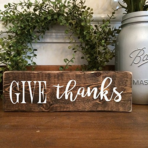 Give Thanks Wooden Sign - Thanksgiving home decor ideas