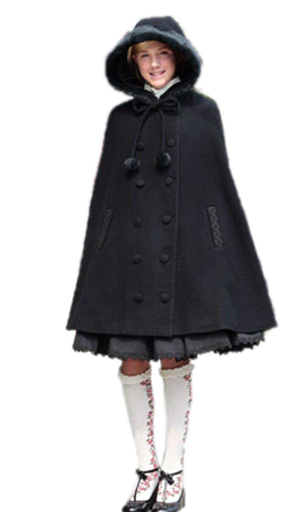 Nuoqi Sweet Girl Lolita Costume Winter Hooded Cloak Fashion Lady Wool Coat (Large, A-Black)