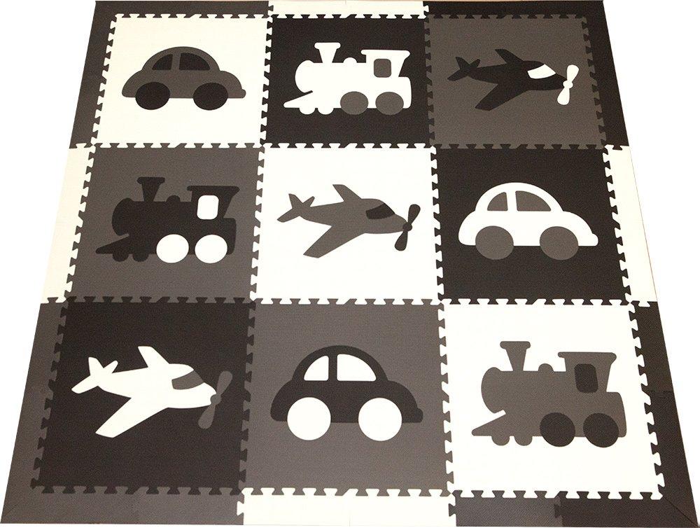 SoftTiles Kids Foam Playmats - Transportation Theme - Non-Toxic Interlocking Floor Tiles for Playrooms/Nursery - Children/Baby EVA Puzzle Mat 6.5'x 6.5' (Black, Gray, White) SCTRABGW
