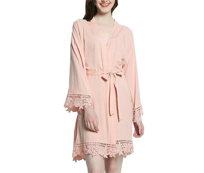 Amazon.com: Kimono de algodón macizo con encaje para mujer ...