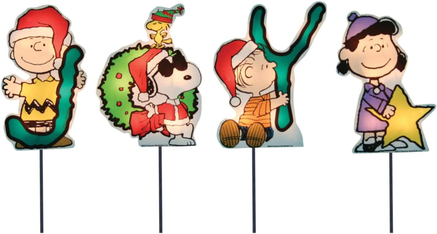 """Product Works Set of 4 Pre-Lit """"JOY"""" Peanuts and Snoopy Christmas Pathway Markers - Clear Lights"""