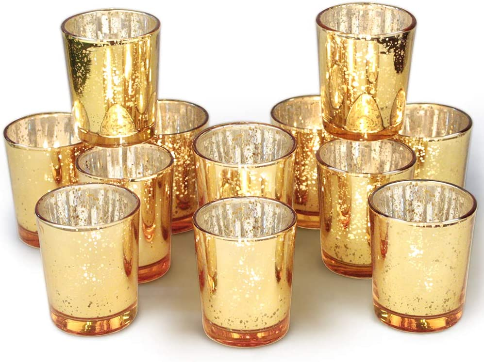 Volens Gold Votive Candle Holders Bulk  Mercury Glass Tealight Candle Holder Set of 12 for Wedding Decor and Home Decor