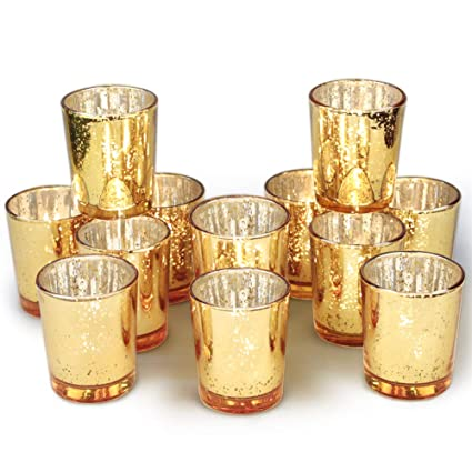 Amazoncom Volens Gold Votive Candle Holders Bulk Mercury Glass