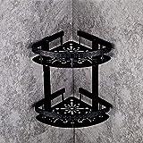 WSHZ Corner Fan Triangle Basket Bathroom Pendant Bathroom Double Shelf Bathroom Corner Frame Black,372922Cm