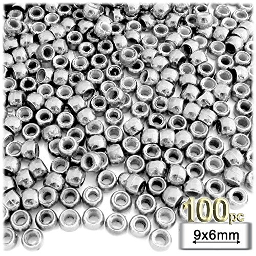 Plastic Round Beads (The Crafts Outlet 100-Piece Plastic Round Opaque Pony Beads, 9 by 6mm, Silver)