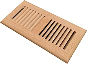 Red Oak Wood Floor Register, Drop in Vent Cover with Damper, 4x10 Inch (Duct Opening), 3/4 Inch Thickness, Unfinished