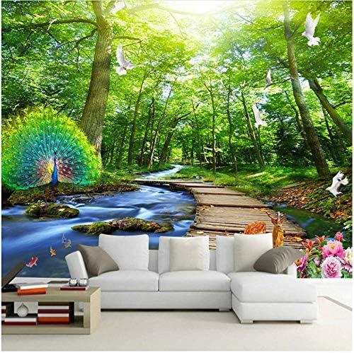 Xbwy 装飾壁画 壁紙3Dフォレスト孔雀木橋自然風景写真壁壁画リビングルームテレビソファ背景-280X200Cm
