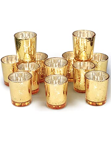 387045419d Volens Gold Votive Candle Holders Bulk, Mercury Glass Tealight Candle Holder  Set of 12 for