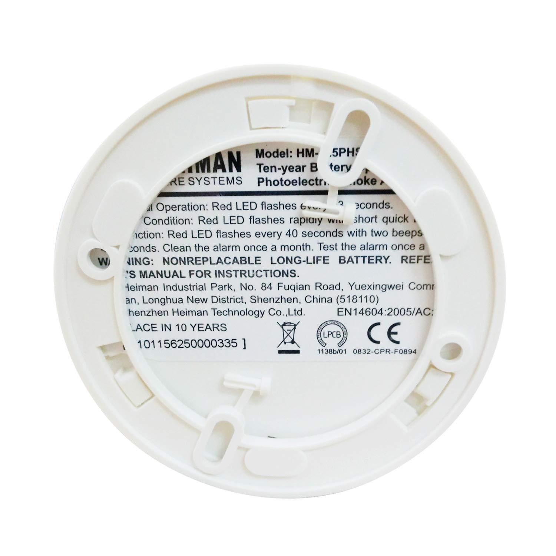 HEIMAN Detector de Humo, Sensor Fotoeléctrico con Alarma de Incendio 10 Años de Duración de Batería EN 14604, VDS, Certificación CE para Casa, Oficina, ...