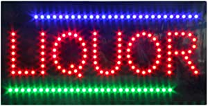 Liquor Store Open Sign for Business, Super Bright Electric Advertising Display Board for Liquor Store Wine Store Bar Business Shop Store Window Decor (19