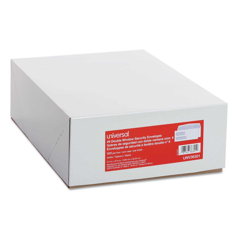 Universal 36301 Double Window Check Envelope, 9, 3 7/8 x 8 7/8, White, 500/Box