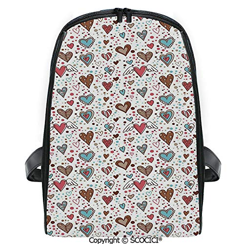 SCOCICI Lightweight Travel Backpack Assortment of Hearts with Various Shapes Sizes and Colors with Dotted Background Decorative Holiday Gift for Girls