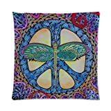"""Custom Popular Peace Sign With Dragonfly Art Pattern Zippered Pillow Case Decor Cushion Cover Square 16"""" x 16"""" Inch (Twin Sides)"""