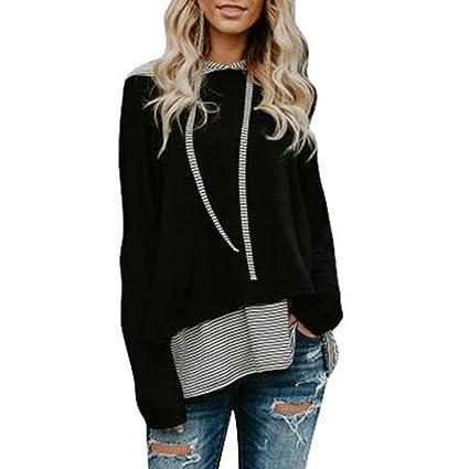 Venta caliente, aimtoppy para mujer moda rayas sudadera jumper Pullover Tops blusa