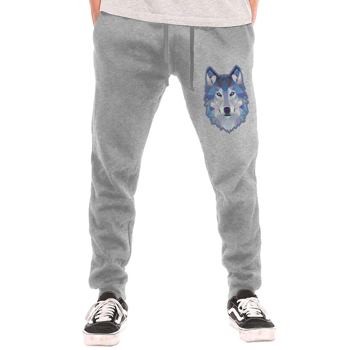 Blue Wolf Printed Drawstring Waist,100/% Cotton,Elastic Waist Cuffed,Jogger Sweatpants