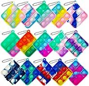 Qabfwe 15 Pcs Mini Push Pop Bubble Fidget Toy, Simple Silicone Fidget Toy, Keychain Bubble Pop Desk Toy, Stres