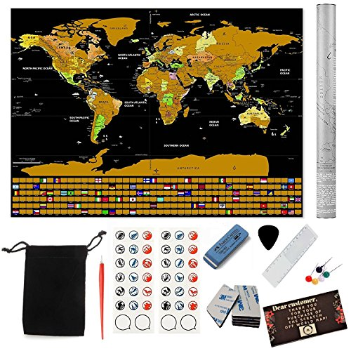 2018 Deluxe Large Scratch Off Map of the World Poster | 32.5
