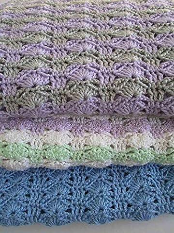 Easy Crochet Blanket Pattern, Arching Shells, Crochet Afghan Pattern, Christening Baby Blanket - Crochet Shell Afghan