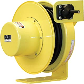 product image for KH Industries RTF Series ReelTuff Industrial Grade Retractable Power Cord Reel, 14/4 SOOW Cable, 12 Amp, 70' Length, Yellow Powder Coat Finish