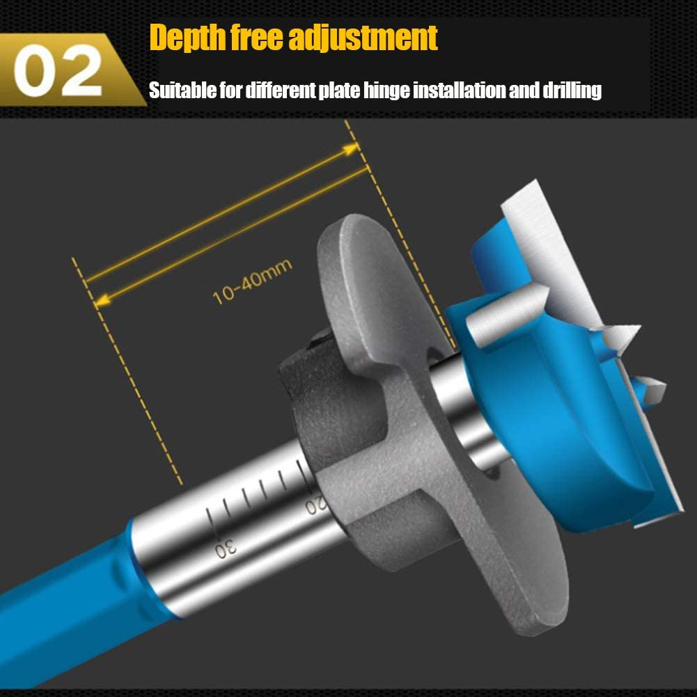 Adjustable Positioning 35mm Tungsten Steel Woodworking Hole Drill Bit FENGTING Woodworking Drilling Hole Opener for Hand Electric Drill Bench drillboring Machine Electric Drill