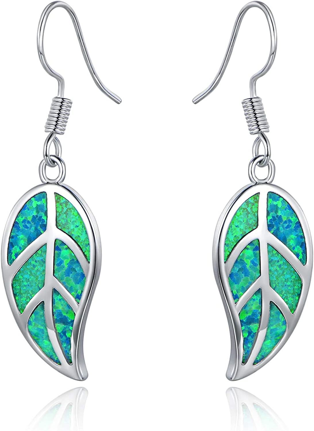Barzel 18K White Gold/Rose Gold Plated Created White or Green Opal Leaf Drop Dangling Earrings