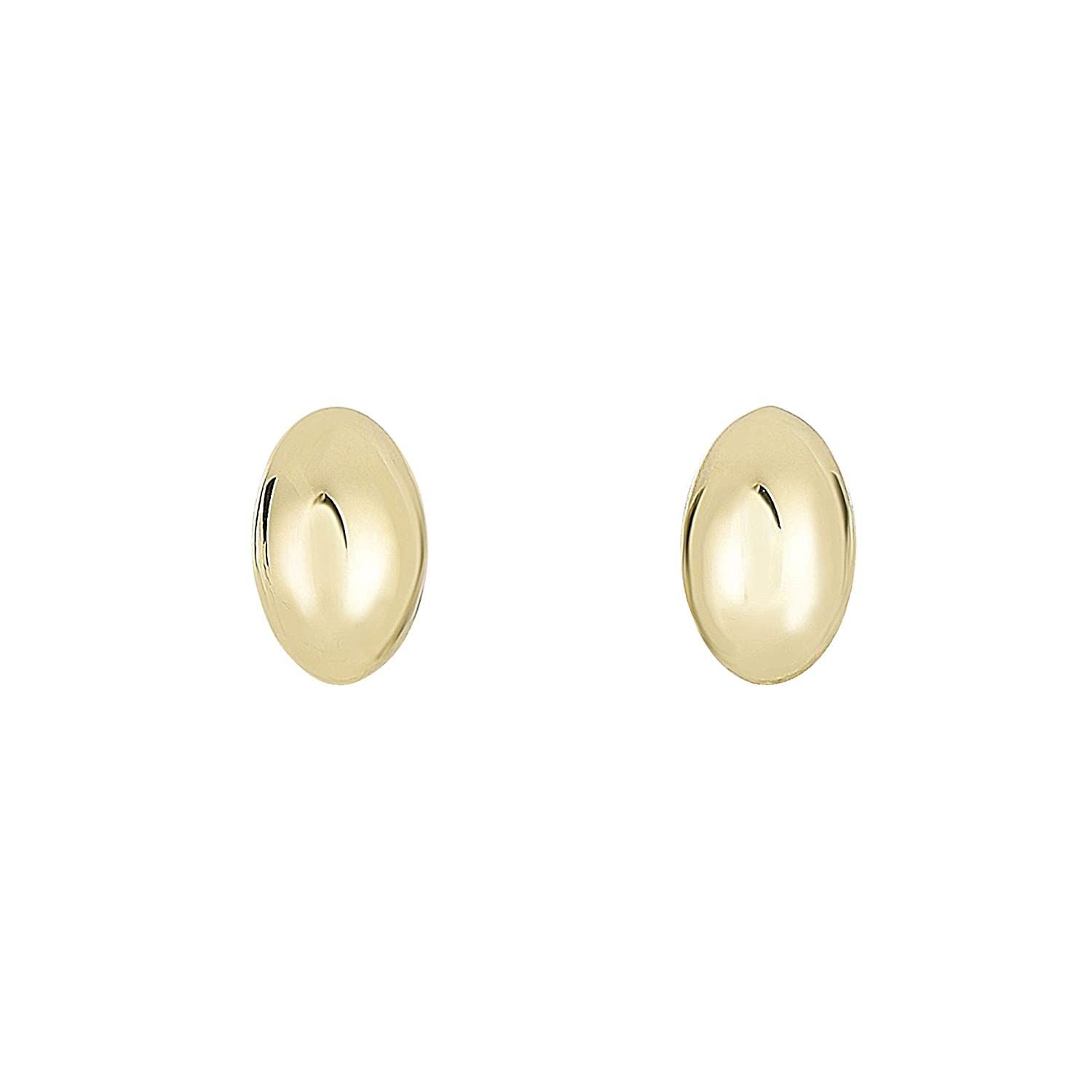 14K Yellow Gold 6.1x9.9mm Shiny Small Puffed Marquise Shape Post Earrings Push Back by IcedTime