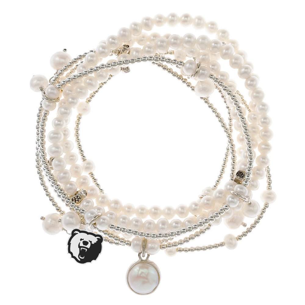 Morgan State Bears 7 Strand Freshwater Pearl and Silver Bracelet