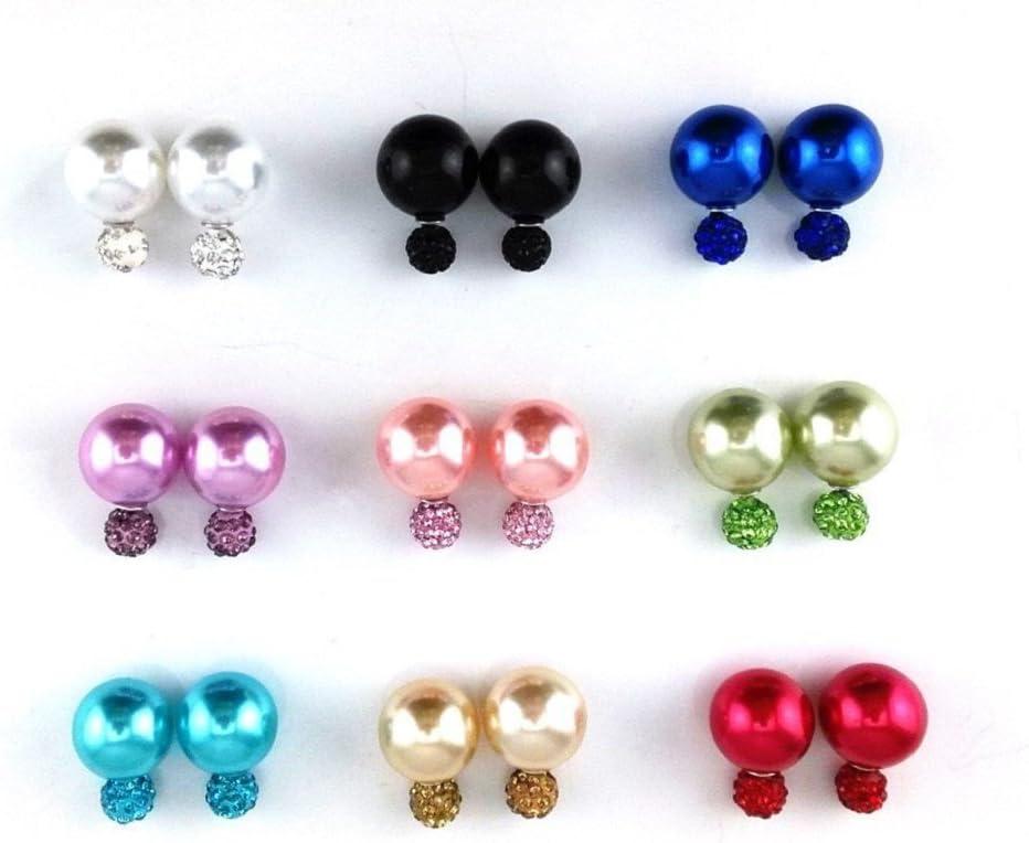 Zhichengbosi 9 pares de pendientes botón de perla arcilla de polímero con brillantitos, pendientes de bola doble, perforadores
