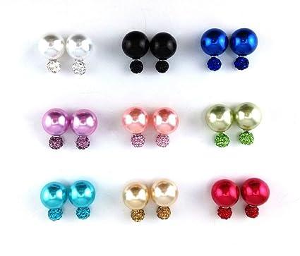 stile romanzo qualità ultimo stile del 2019 Zhichengbosi 9 paia di orecchini a doppia sfera in pasta polimerica con  strass e perla, a doppia sfera, orecchini gioiello
