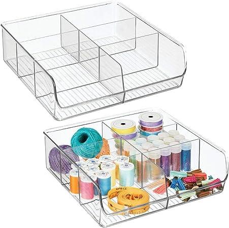 mDesign Juego de 2 organizadores de cajones para material de costura y artículos de mercería – Práctica caja organizadora con 6 divisiones – Bandeja de plástico para cajones y armarios – transparente: Amazon.es: Hogar
