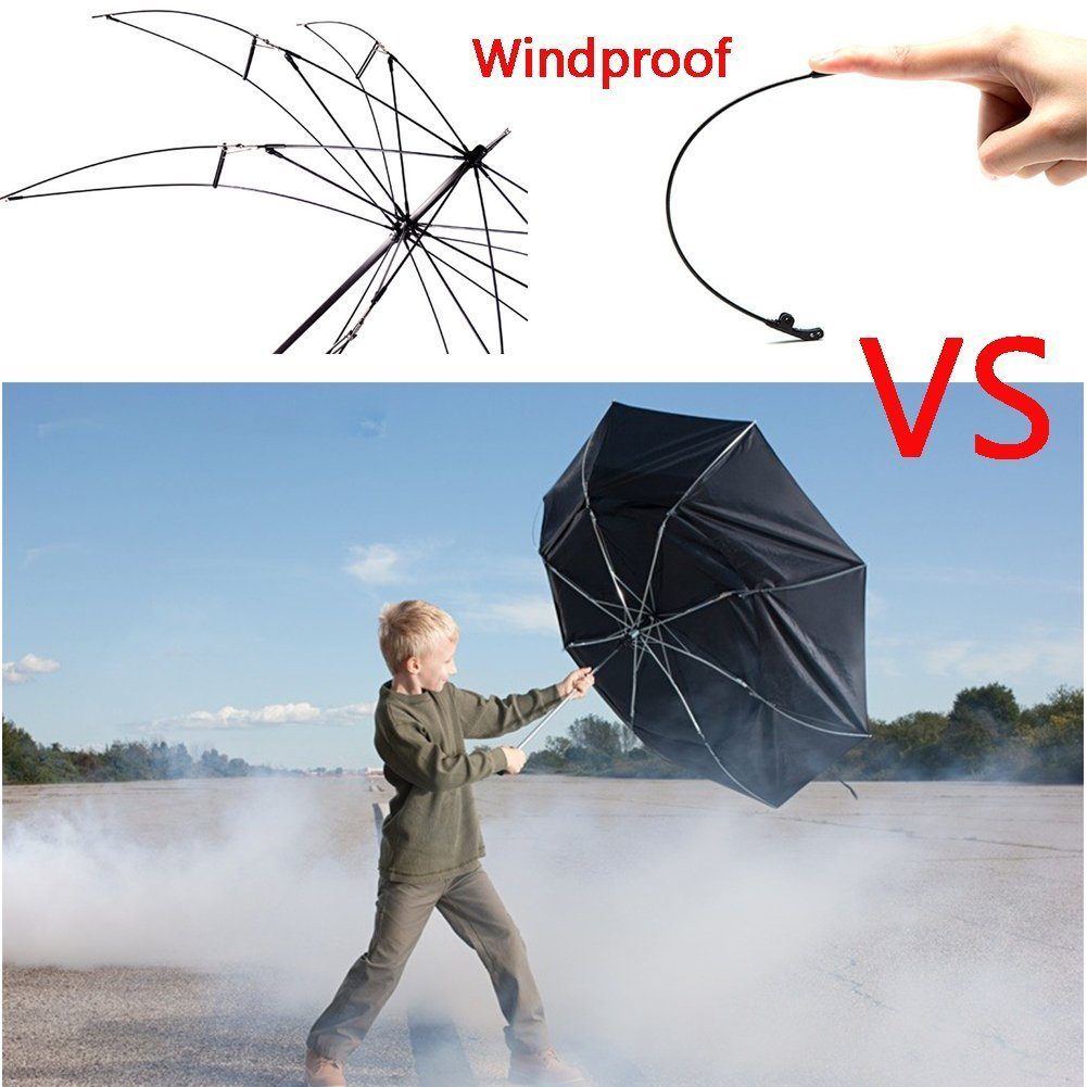 Amazon.com : V.one Folding Reverse Windproof Double Layer Inverted C-Shaped Handle Umbrella with UV Protection and C-shaped Hand Black : Sports & Outdoors