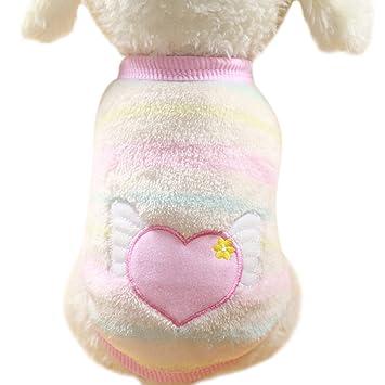 ... de ángel Coral Forro Polar Mascotas Rayas Parche de otoño e Invierno Caliente Perro Gato Ropa Mascota Suministros: Amazon.es: Productos para mascotas