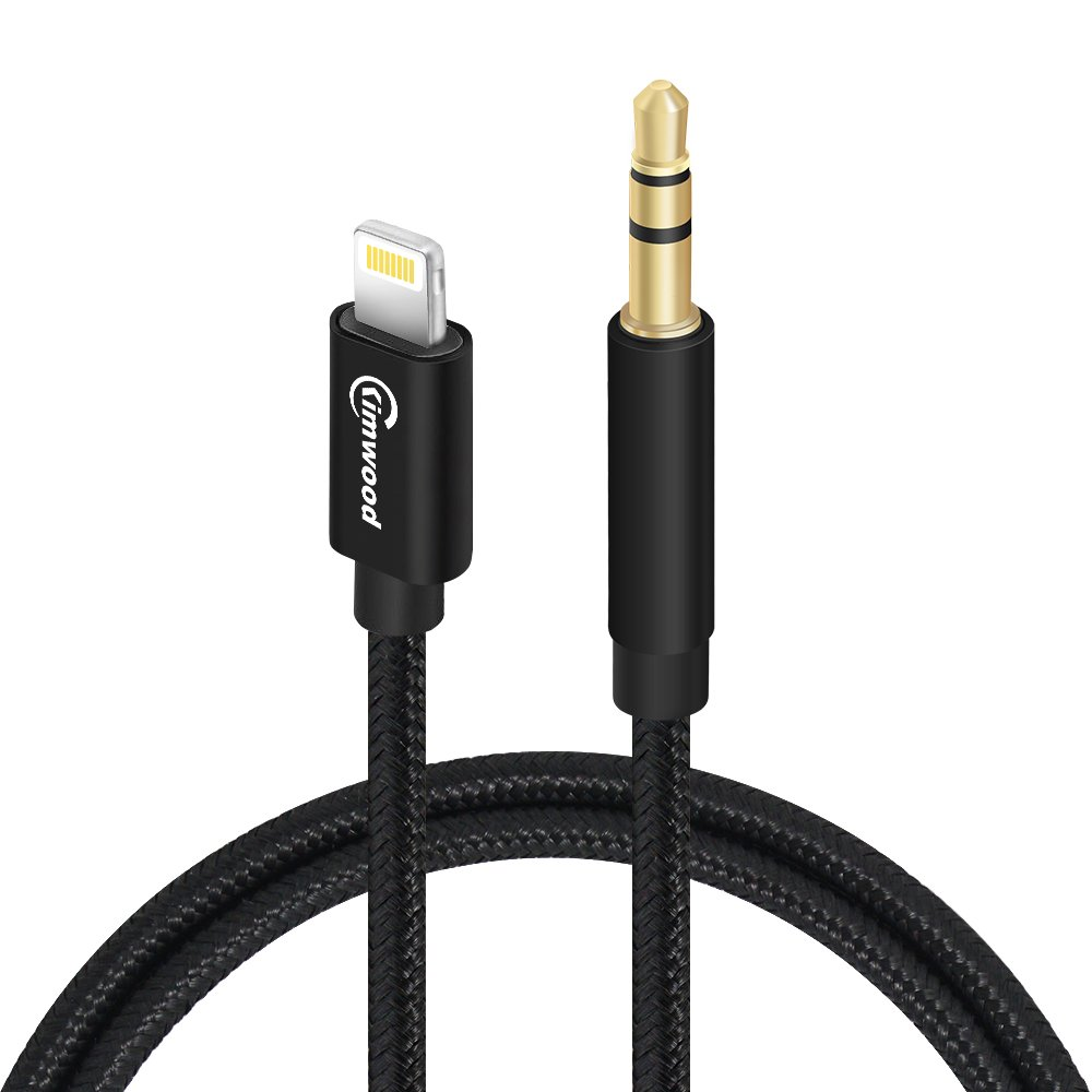 Kimwood AUX Cord for iPhone, Braided 3ft AUX Stereo Cable for iPhone 7/7+/8/8+/X and Other Devices with Lightning Connector (AUX Cable) by Kimwood