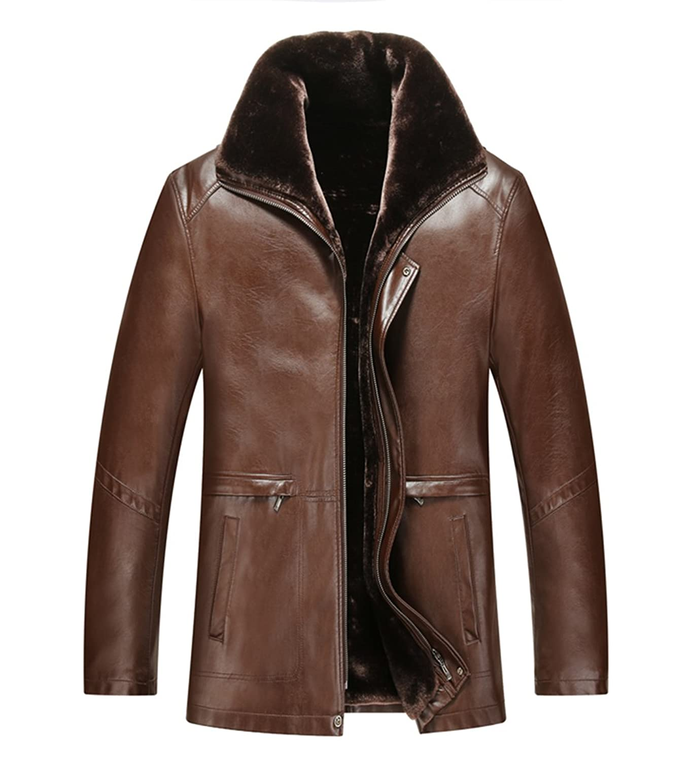 Tongzemeng Men's Winter Leather Solid Color Casual PU Leather Turn-down Collar Jackets