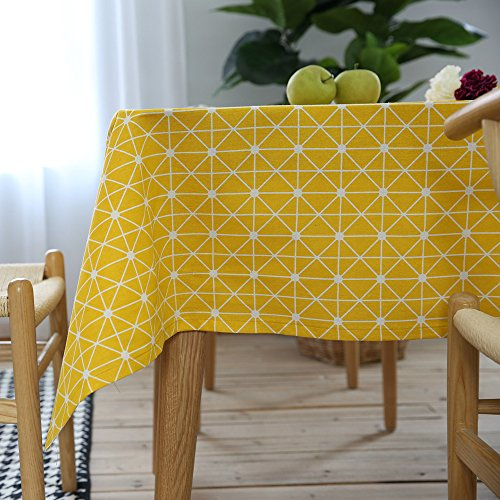 ColorBird Geometric Series Tablecloth Diamond Pattern Cotton Linen Dust-proof Table Cover for Kitchen Dinning Tabletop Linen Decor (Rectangle/Oblong, 55 x 102Inch, (Classic Series Folding Table)