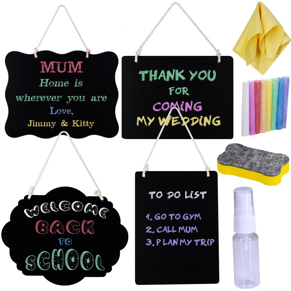 Supla 4 Pack Decorative Hanging Chalkboard Signs Double-sided Reusable Message Board for Back To School First Day of School Wedding Front Door Decorations