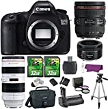 Canon EOS 5DS R 50.6 MP Digital SLR Camera w/ EF 24-70mm f/4L IS USM Lens + EF 70-200mm f/2.8L USM Lens + EF 50mm f/1.8 STM Lens Premium Bundle