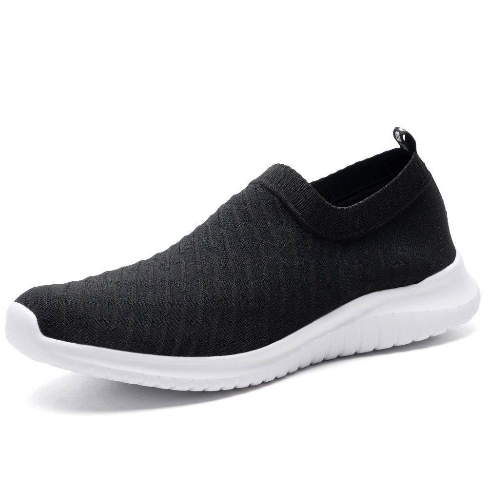 KONHILL Couple Lightweight Sneakers Casual Athletic Sport Slip-on Walking Shoes, Black, 39