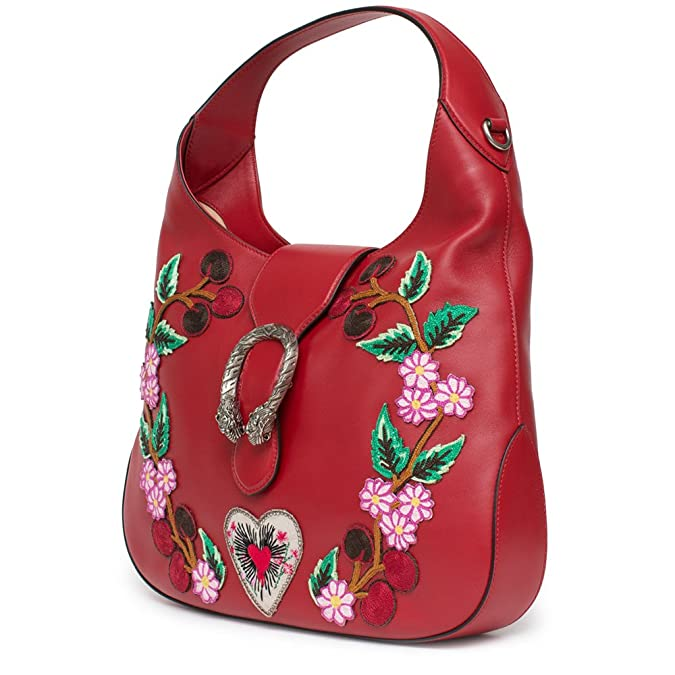 e070e7e65c39 Amazon.com: Gucci Red Dionysus Embroidery Cherry Blossoms Leather Shoulder  Bag Medium Hobo Handbag New: Shoes