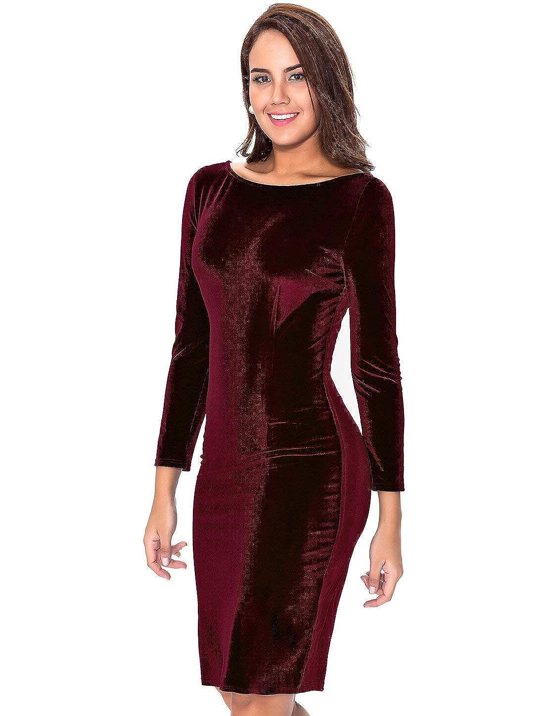 fba4e17a8f InsNova Women s Burgundy Long Sleeve Velvet Midi Dress for Cocktail Party