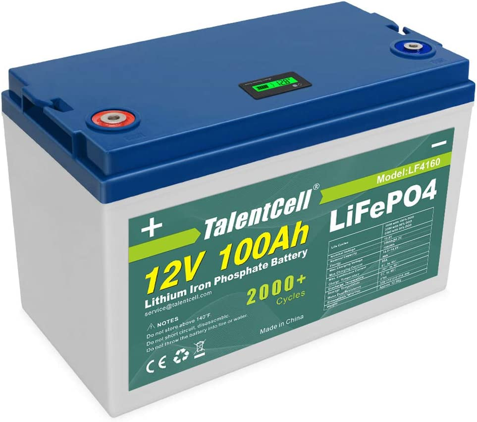 TalentCell Rechargeable 12V 100Ah Lithium Iron Phosphate