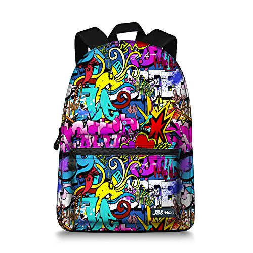 """JBS-NO. 1 Girls Boys Backpacks school bags lightweight Canvas Backpack for teen girls Fit in 15"""" Laptop (pig0-4) (multicolored)"""
