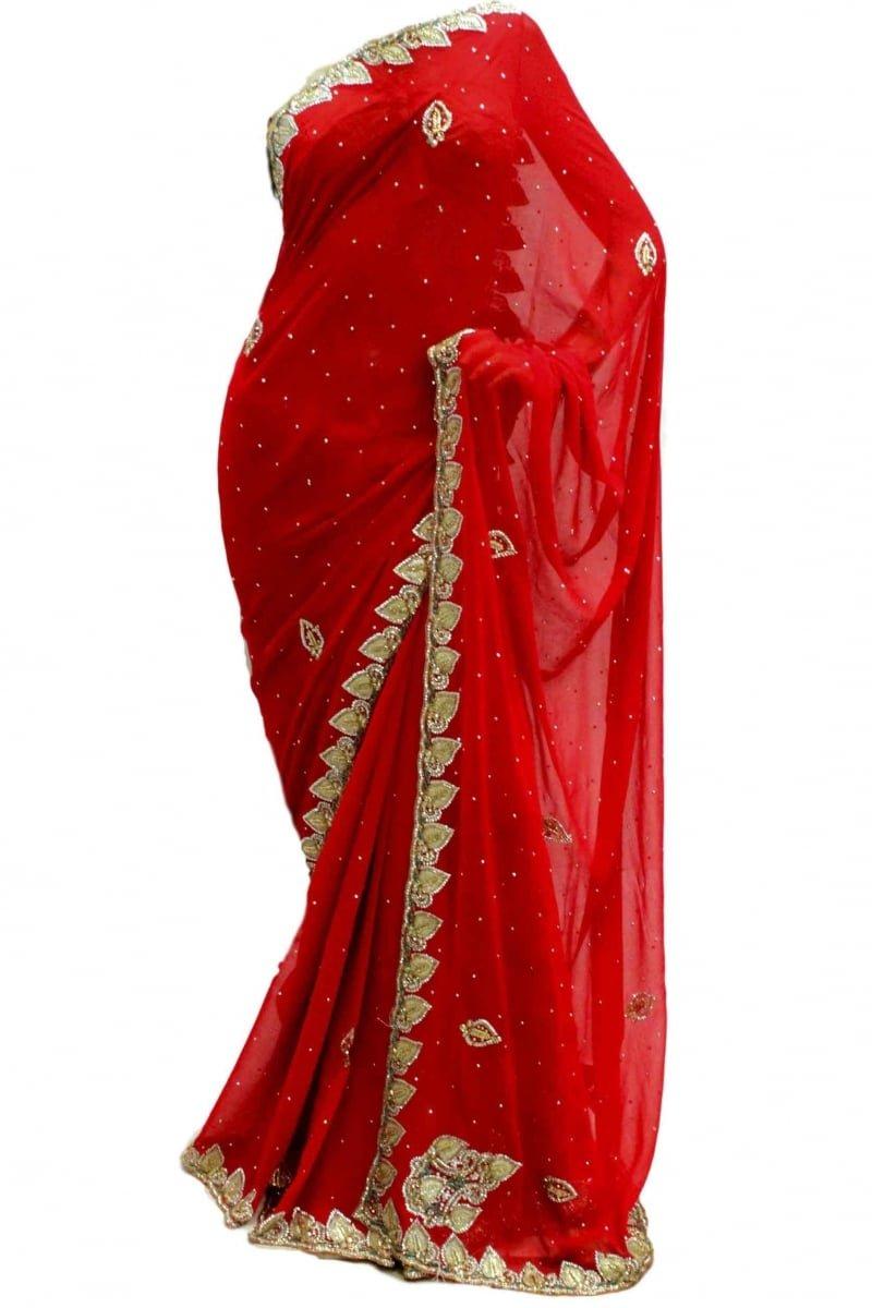 Latest Crimson & Gold Party Saree Unstitched Blouse Piece